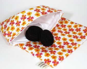 Bright Pink and Orange Flowers Sandwich and Snack Bag Set, Reusable