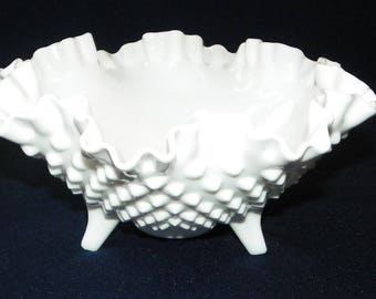 Fenton Hobnail Milk Glass 8 Inch Double Crimped Compote, Candy Bowl