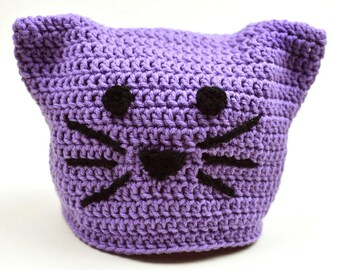 Kitty Cat Hat - 5 Sizes - PDF Crochet Pattern - Instant Download