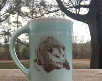 Large Porcelain Celadon Hissing Opossum  Mug