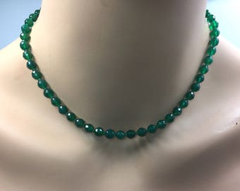 Green Onyx Necklace in Sterling Silver