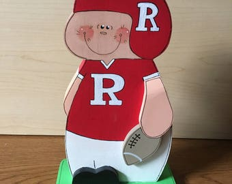 "Rutgers Football Player handmade of wood 3/4 "" thick, 8 1/2"" tall, weighs 6.3 oz, unique"