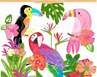 ON SALE - Birds Clipart - Tropical Birds, Digital Clipart For All Use, Instant download