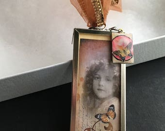 Butterfly Girl Ornament - microscope slide