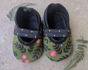 Rifle Paper Co/ Handmade Baby Shoes/ Floral/ Leather/ Mary Janes/ Fall/ Green/ Gold