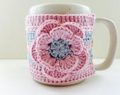 Floral Cup Cosy, Cup Sleeve, Mug Cosy, Cup Cozy, Mug Sleeve, Mug Warmer - in Pure Cotton