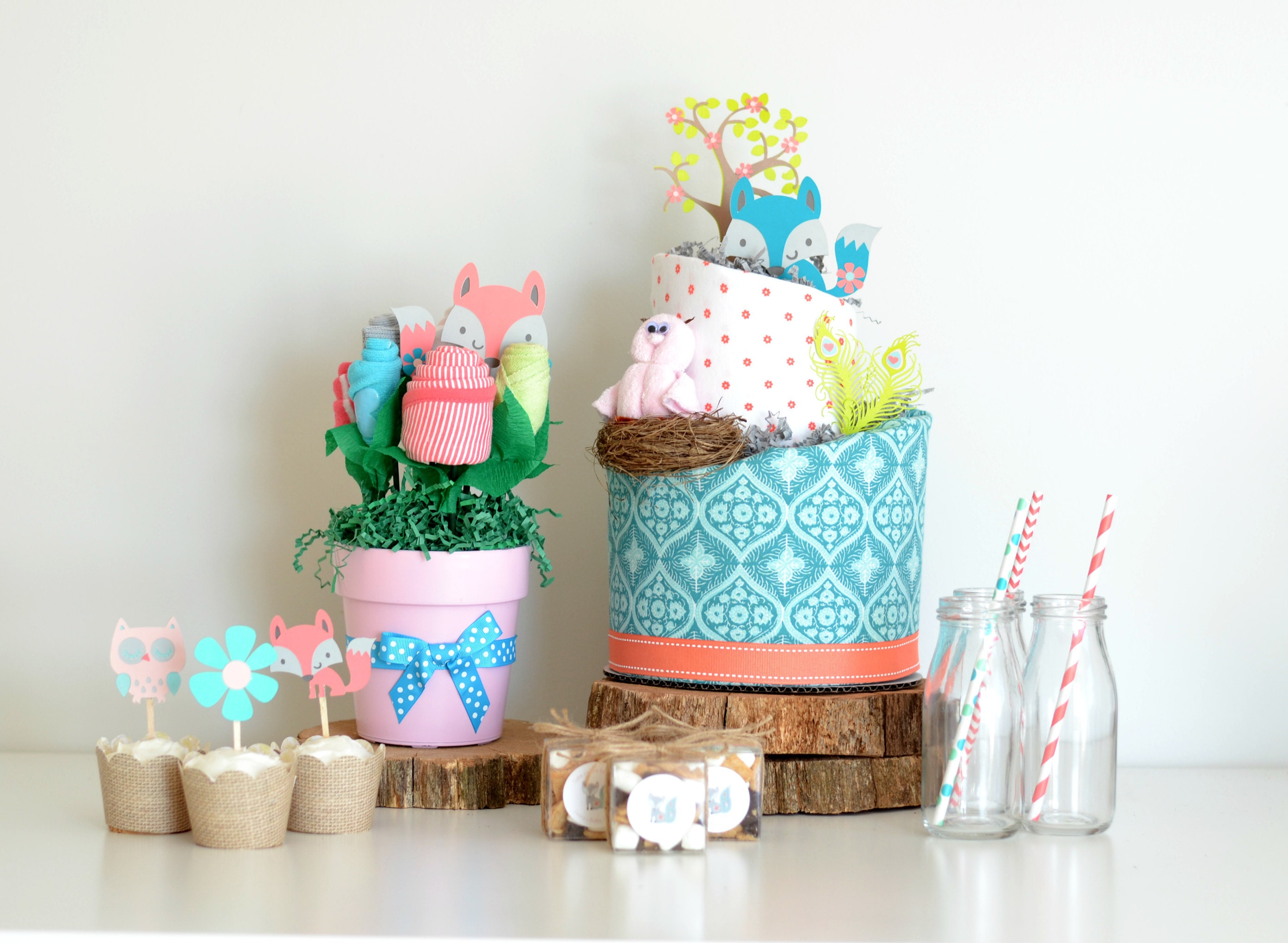 girl woodland baby shower decorations