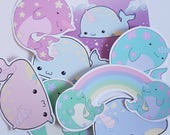 Cute Narwhal sticker set, kawaii narwhal stickers, cute planner stickers, pastel goth, happy mail, bullet journal, kawaii sticker set