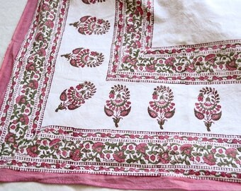 Vintage India Tablecloth - Pink and White Floral Paisley - 51 x 82