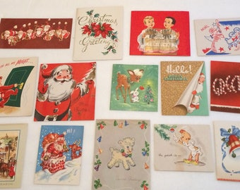 Vintage Lot of 14 Christmas Cards Pop Up Glitter Santa