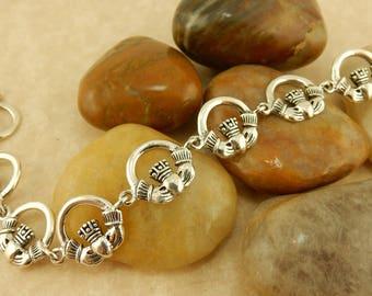 Vintage Sterling Silver Irish Claddagh Link Bracelet