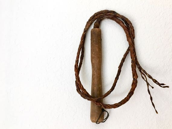 Vintage Braided Leather Bullwhip with Wood Handle