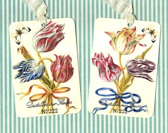 Tags, Flower Gift Tags, Tulips, Tulip Tags, Party Favors, Botanical Tags, Vintage Style