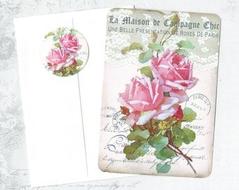 Note Cards,Roses, French Style, Pink Rose Note Card Set, Stickers, Roses