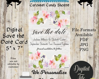 Printable Distressed Wood and Flowers Save The Date Wedding Card, DIY, We Personalize, You Print