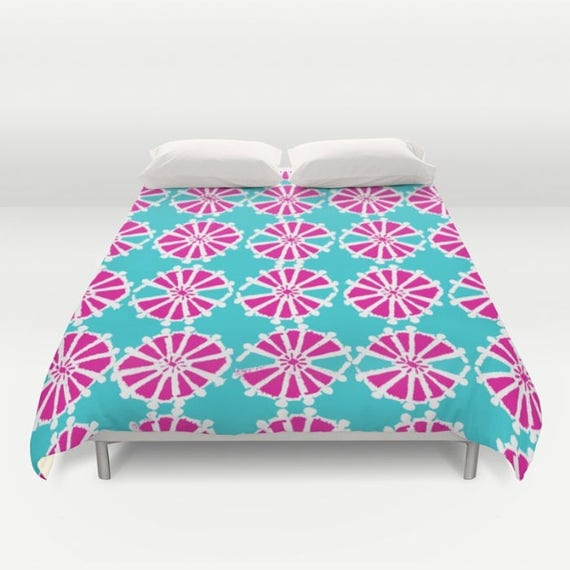 Modern Turquoise Duvet Cover - Magenta duvet cover - Pink duvet cover - Twin XL duvet - queen duvet cover - king duvet cover - full duvet