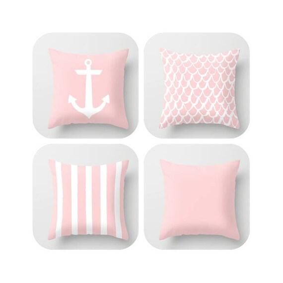Blush Pink Throw Pillow . Mermaid Pillow . Anchor Pillow . Coastal Pillow . Striped Pillow . Rose Pink cushion Throw Pillow 14 16 18 20 inch