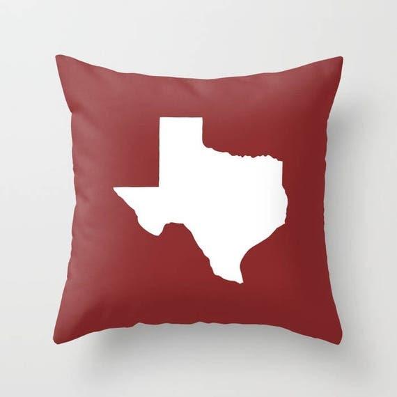 Texas Throw Pillow . Caliente Pillow . Texas Cushion . Burgundy Pillow . Texas Pillow . Texas State . Caliente Texas Gift 14 16 18 20 inch