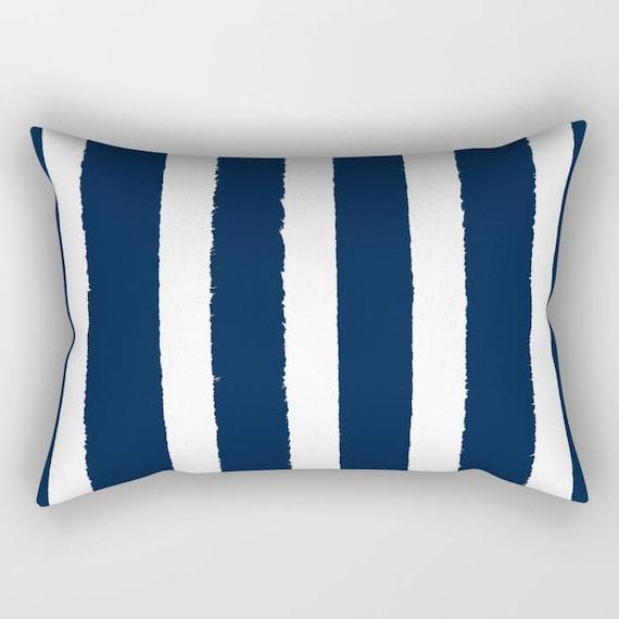 Navy Lumbar Pillow . Navy blue lumbar pillow . Navy Toddler Pillow . Striped Pillow . Blue Pillow . Modern Cushion . Travel Pillow 14 x 20