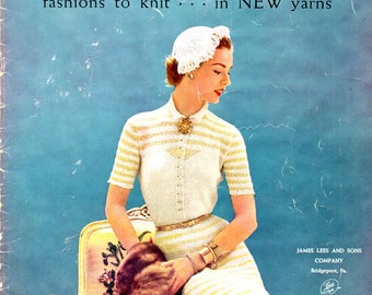 Columbia Minerva Fashions to Knit 700 Vintage 1950s Styles Suit Dress Sweater Blouse Ascot Bolero Gold Silver Yarn Craft Pattern Leaflet