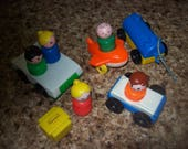 Lot of 10 Fisher Price Little People Cars Airplane Tanker and Suitcase