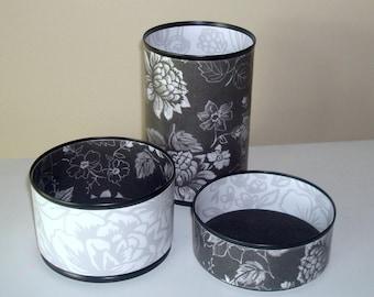 Black and White Floral Desk Accessories, Floral Pencil Holder, Make-up Brush Holder, Office Organization, Office Decor, Coworker Gift - 1055