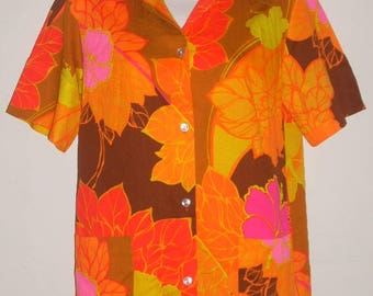Vintage Hawaiian Barkcloth Tiki Camp Shirt Pomare Acrylic Size 10  Hawaii Medium