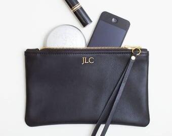 Monogrammed Leather Clutch, Personalized Zipper Wristlet, Black Leather Clutch, Foil Monogram Embossed Leather Wristlet, Cell Phone Wristlet