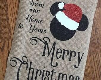 Burlap Garden Flag, Christmas Garden Flag, Disney Flag, Burlap Flag, Mickey Flag, Yard Art, Christmas Decor, Christmas Gift