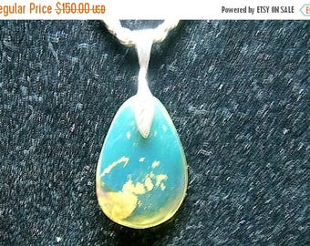 SALE Electric Blue Dominican Amber Pendant