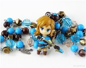 Legend of Zelda Breath of the Wild Rosary Necklace, Blue, Brown, Link Figure, Gamer Gifts, Gamer Jewelry