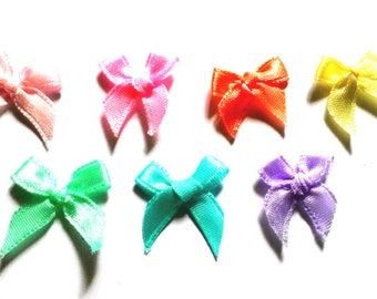 100 pcs Cute Satin BOW Ribbon Applique Embellishment Decoration size 20 x 25mm  mix Pastel color