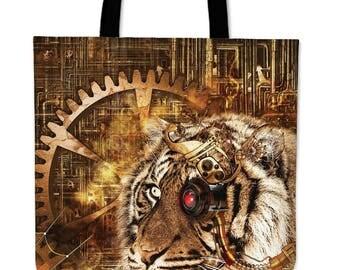 Steampunk Tiger Tote Bag - FREE Shipping