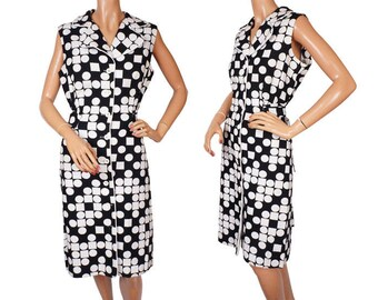 Vintage 1960s Black and White Dress - Graphic Print  - Dot and Squares - Cotton -  L