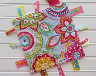 Bright Pink Ribbon Lovey Sensory Tag Blanket, Ribbon Tag Lovey, Baby Girl minky Ribbon Lovey, Pink Ribbon Lovey, Baby Girl Shower Gift