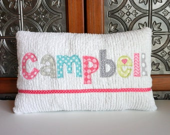Your Name Personalized Baby Girl Pillow, Custom Kids Room Pillow, New Baby Gift, Baby Girl Shower Gift, Birth Announcement Gift