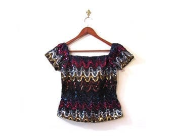 30% OFF Vintage 80s SHIMMER Sequined Disco Top s m