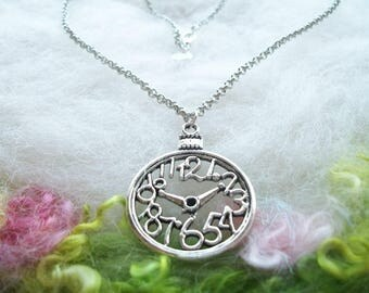 Clock Necklace Tibetan Silver  Clock Charm Necklace Simple Jewelry Clock Jewelry