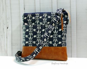 Hipster Messenger - Sling Bag -  Homespun Aztec Arrows in Navy with Vegan Leather