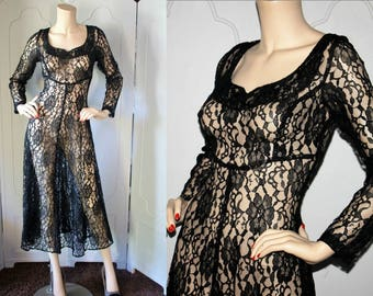 Vintage 80's Black Lace Middy Dress. Small.