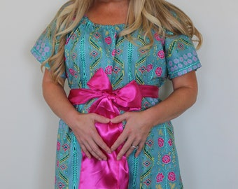 Maternity Hospital Gown in Berlyn- Perfect for Nursing and Skin to Skin - Choose Options - Ships Fast!