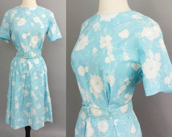 vintage 60s dress || 1960s dress || early 60s day dress || light blue floral dress || connie marie || crepe spring dress || extra large xl