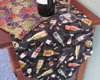 """Wine Lovers Table Runner 54"""" Grapes Table Runner Reversible Tuscany Runner Wine Country Runner Wine Bottle Table Runner Wine table decor"""