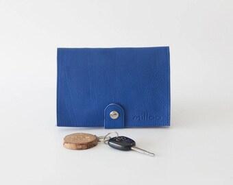 Women minimalist wallet royal blue leather, phone wallet clutch wallet large slim bifold phone case - Iole Wallet