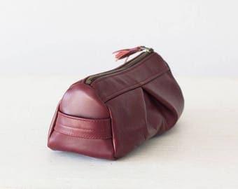 Burgundy leather makeup bag, accessory bag pencil case  storage zipper pouch travel case jewellery case - Estia Bag