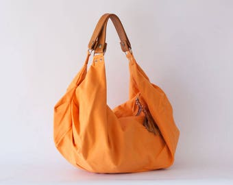 Orange canvas bag with brown leather, hobo flower purse cotton women bag large shoulder purse overnight weekend bag holdall bag - Kallia bag