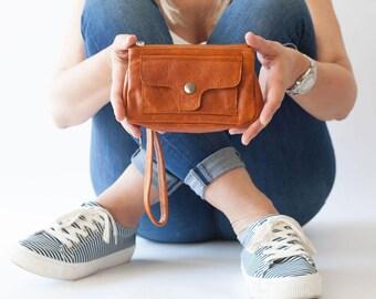 Brown wristlet leather wallet phone case, womens wallet clutch wallet phone case zipper wallet - Thalia Wallet