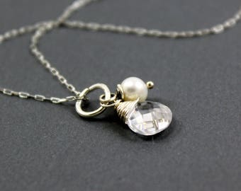 Rock Crystal Quartz Freshwater Pearl Charm Necklace in Sterling Silver - Add A Charm - add a dangle - stone charm ~ AdoniaJewelry
