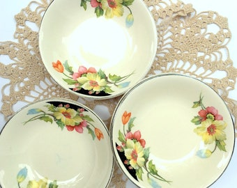 Vintage Padden City Pottery,Set of 5 Serving bowls,Rare,Discontinued,Princess Pattern,Berry bowls,1930,Art Deco,Hollyhocks,dining Serving