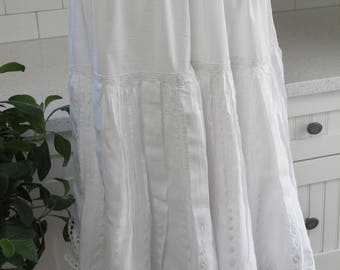 c1900 Short Petticoat White Cotton Ruffled Eyelet Lacy Tucks Gathered Perky Victorian Prairie Re-Enactment